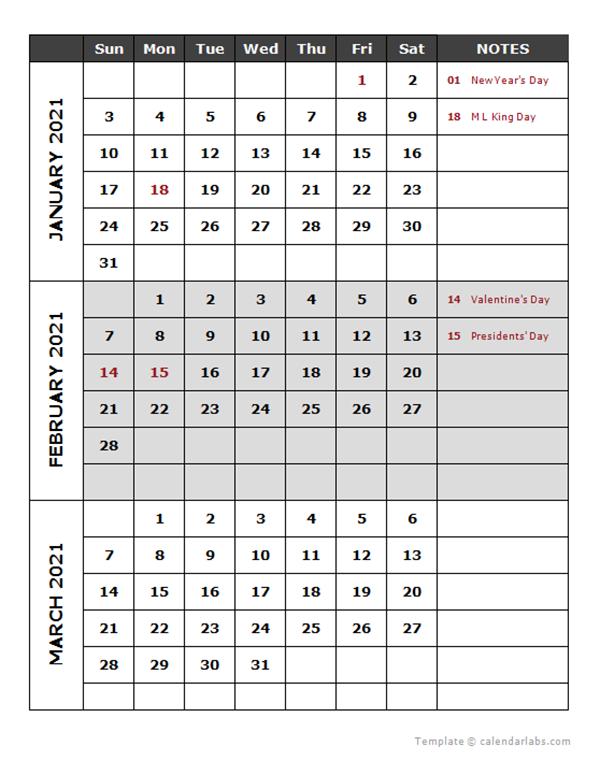 2021 Quarterly Calendar Template - Free Printable Templates  2021 Fiscal Year Julian Calendar