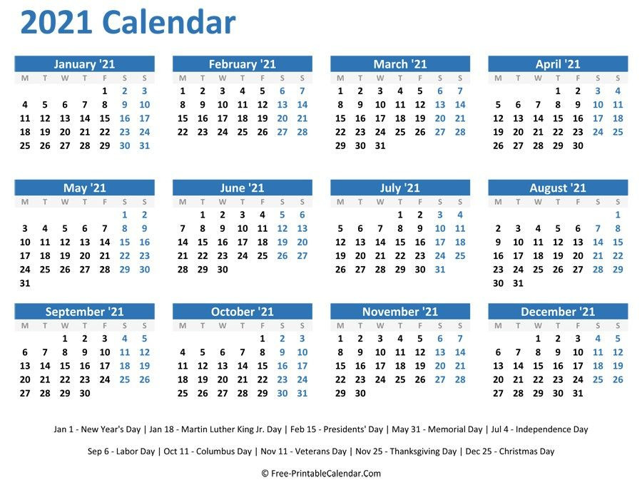 2021 Yearly Calendar Printable Horizontal In 2020  2021 12 Month Calendar Printable Free Pdf