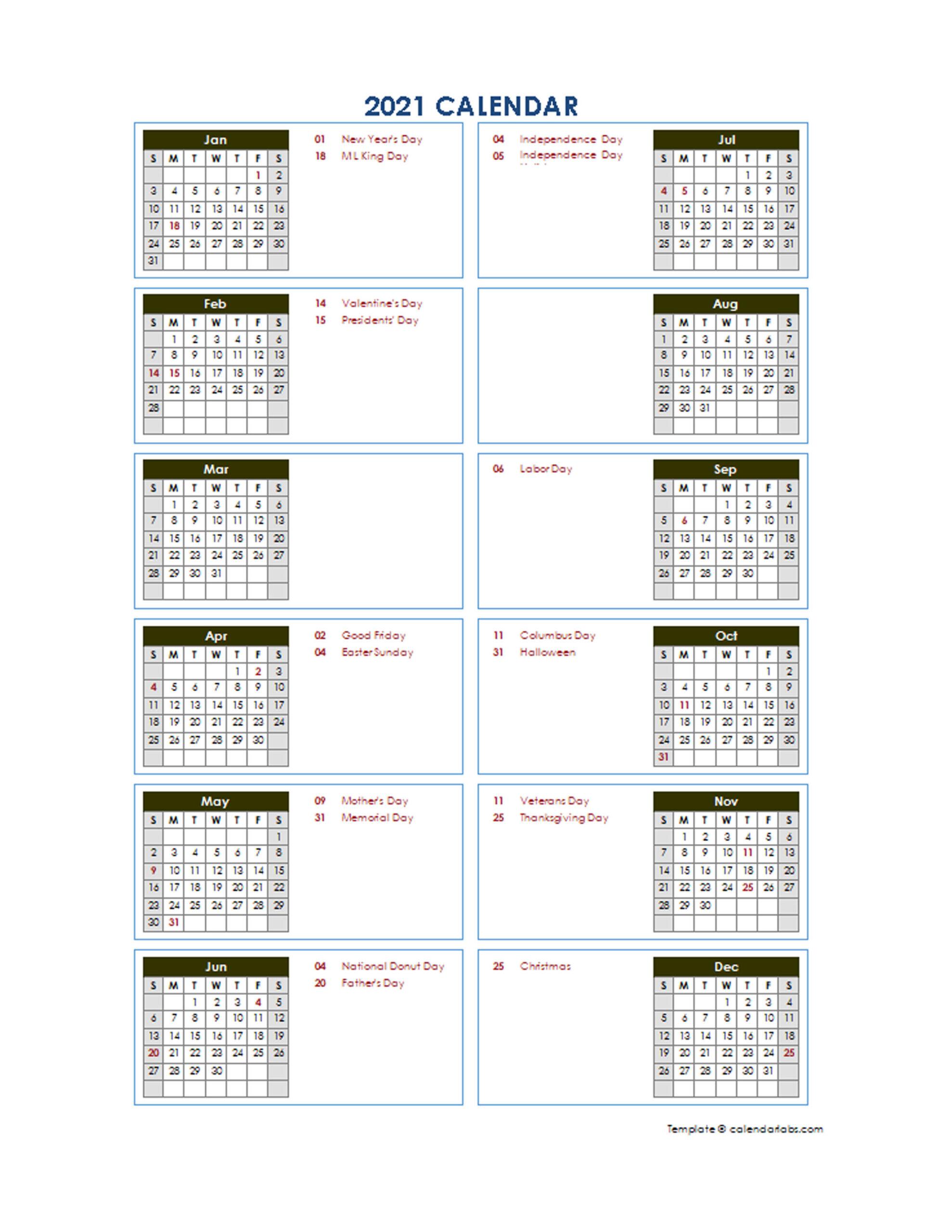 2021 Yearly Calendar Template Vertical Design - Free  2021 Fiscal Year Julian Calendar