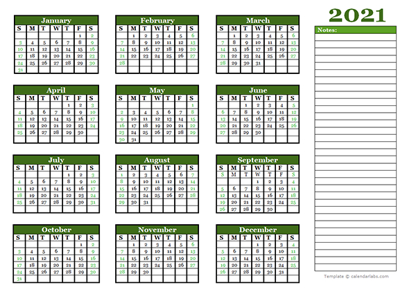 2021 Yearly Calendar With Blank Notes - Free Printable  2021 Yearly Calendar Printable Free