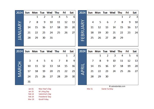 2024 Excel 4 Month Calendar Template - Free Printable  Four Month Calendar Template