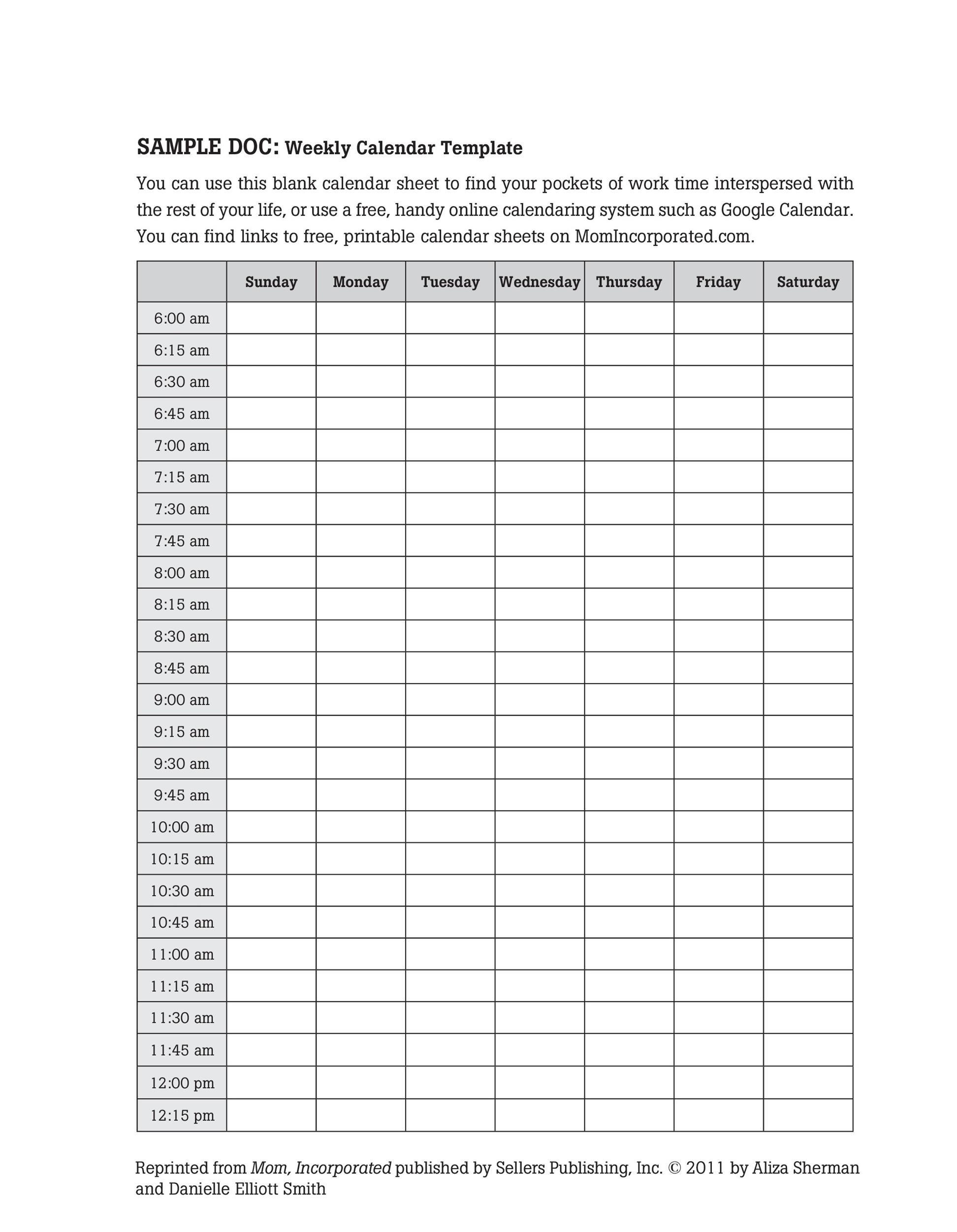 26 Blank Weekly Calendar Templates [Pdf, Excel, Word  Blank Weekly Schedule Template 7 Days