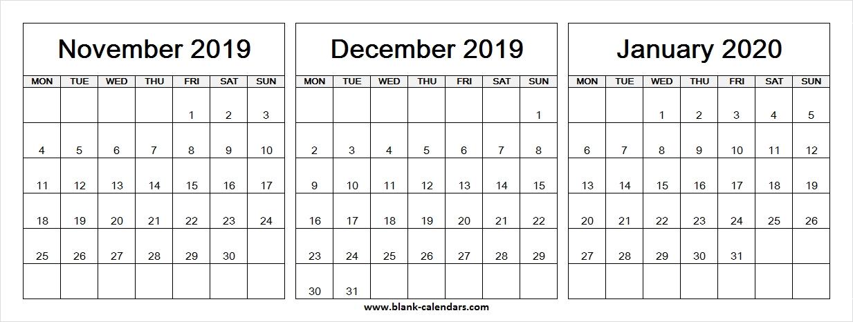 3 Month Calendar 2020 Printable | Calendar Template 2021  November 2021 Fill In Calendar