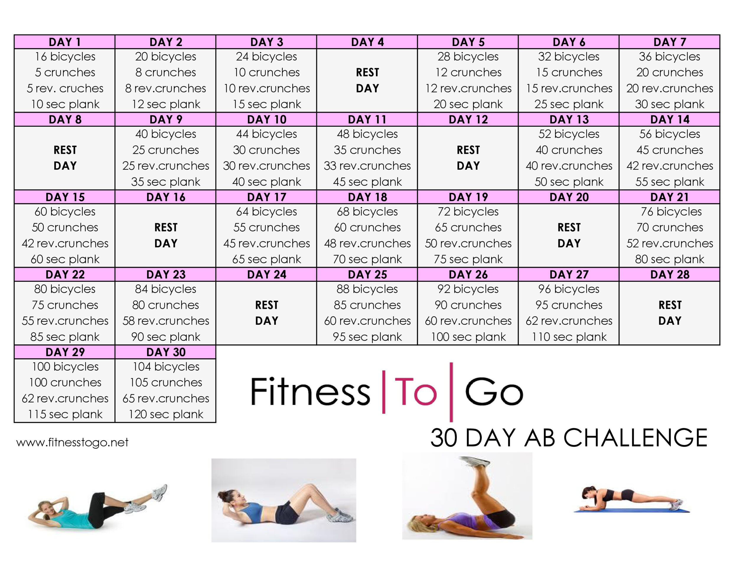 30 Day Ab Challenge - Fitness To Go  30 Day Exercise Challenge Printable