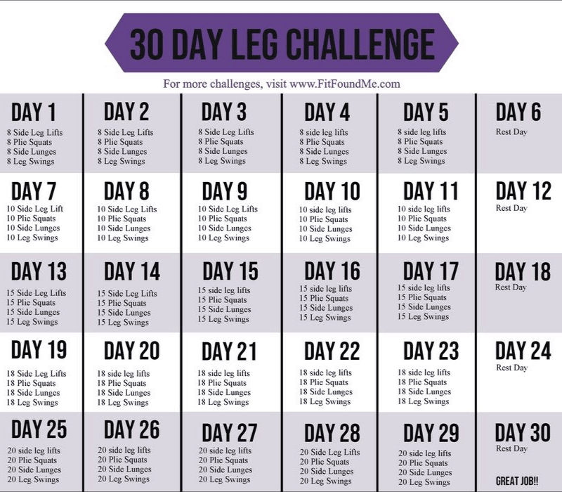 30 Day Leg Challenge For Slimming Thighs   Fit Found Me  30 Day Exercise Challenge Printable
