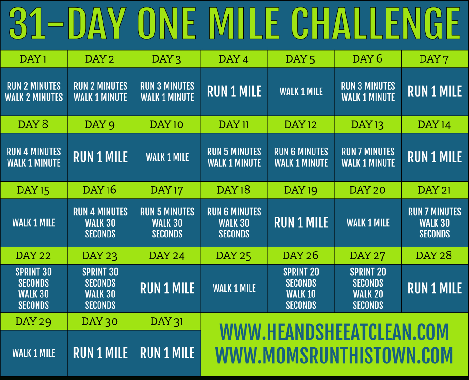 31-Day Mile A Day Challenge For Beginners & Experts  31 Day Monthly Schedule