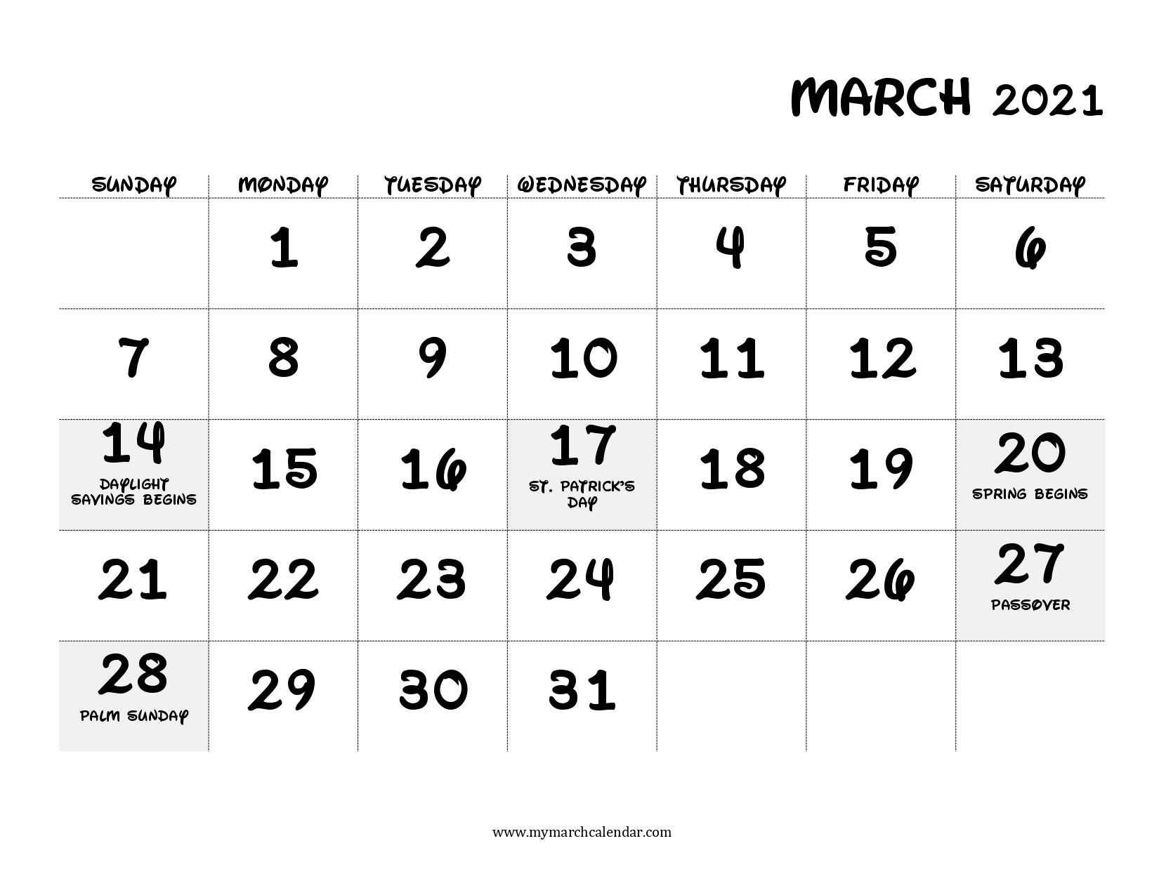 35+ March 2021 Calendar Printable, March 2021 Calendar Pdf  Printable March 2021 Calendar Pdf