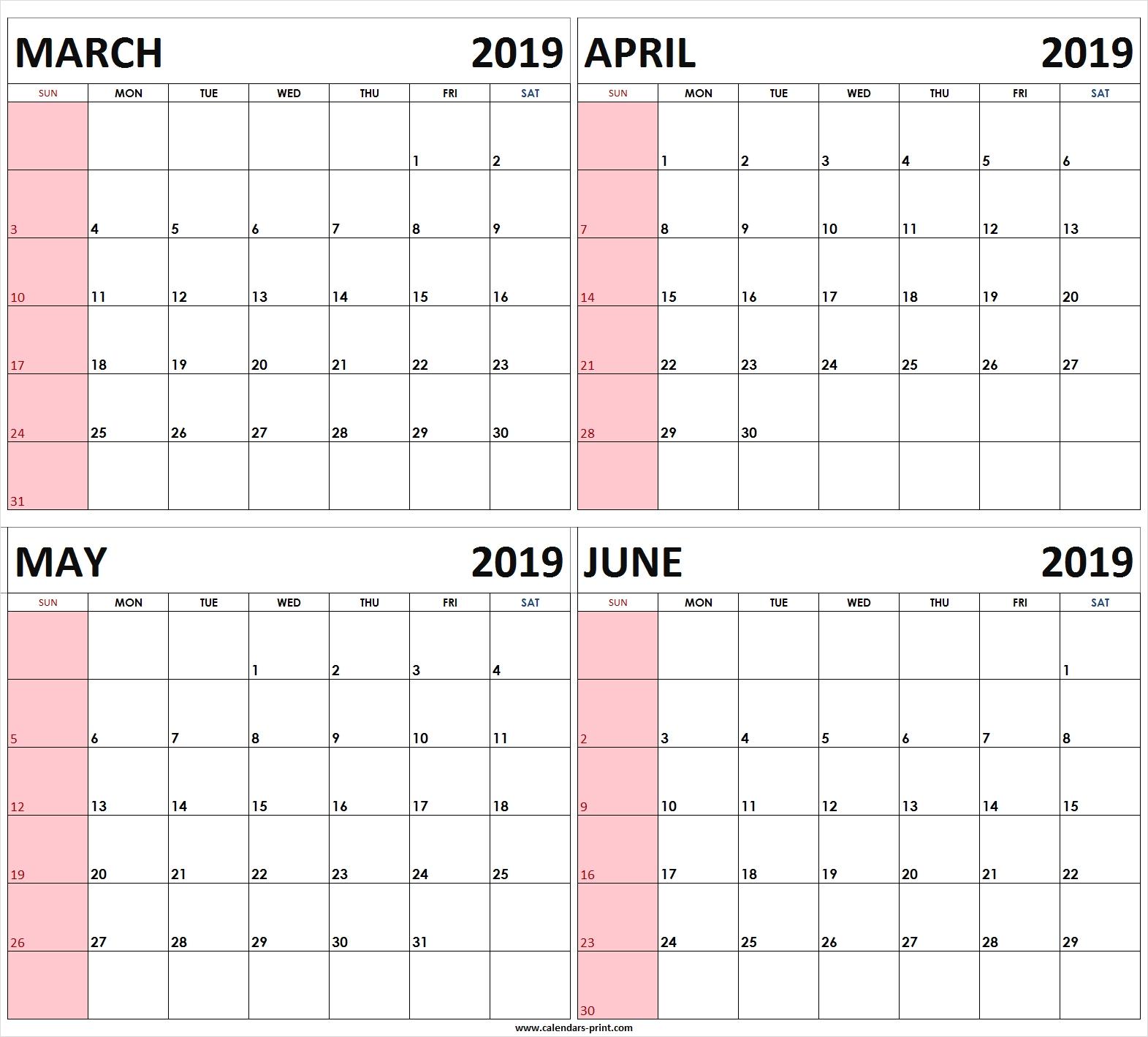 4 Month Planner Template   Calendar Template Printable  Four Month Calendar Template