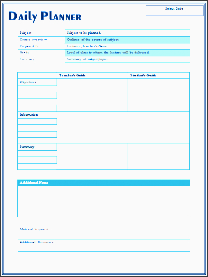 5+ Daily Lesson Planner Template Editable  Editable Daily Planner Template