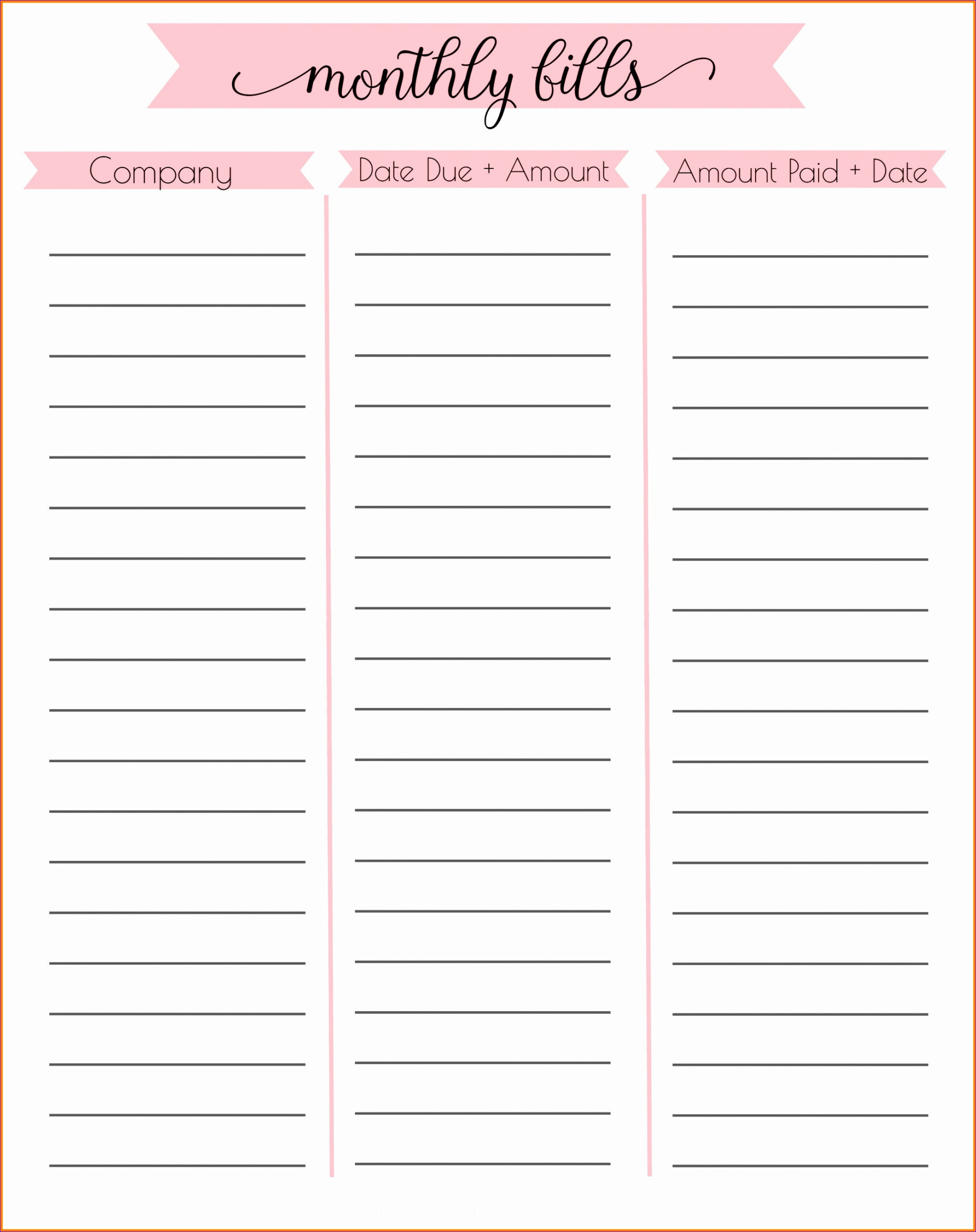 5 Free Personal Budget Template Excel - Excel Templates  Monthly Bills Task Sheet