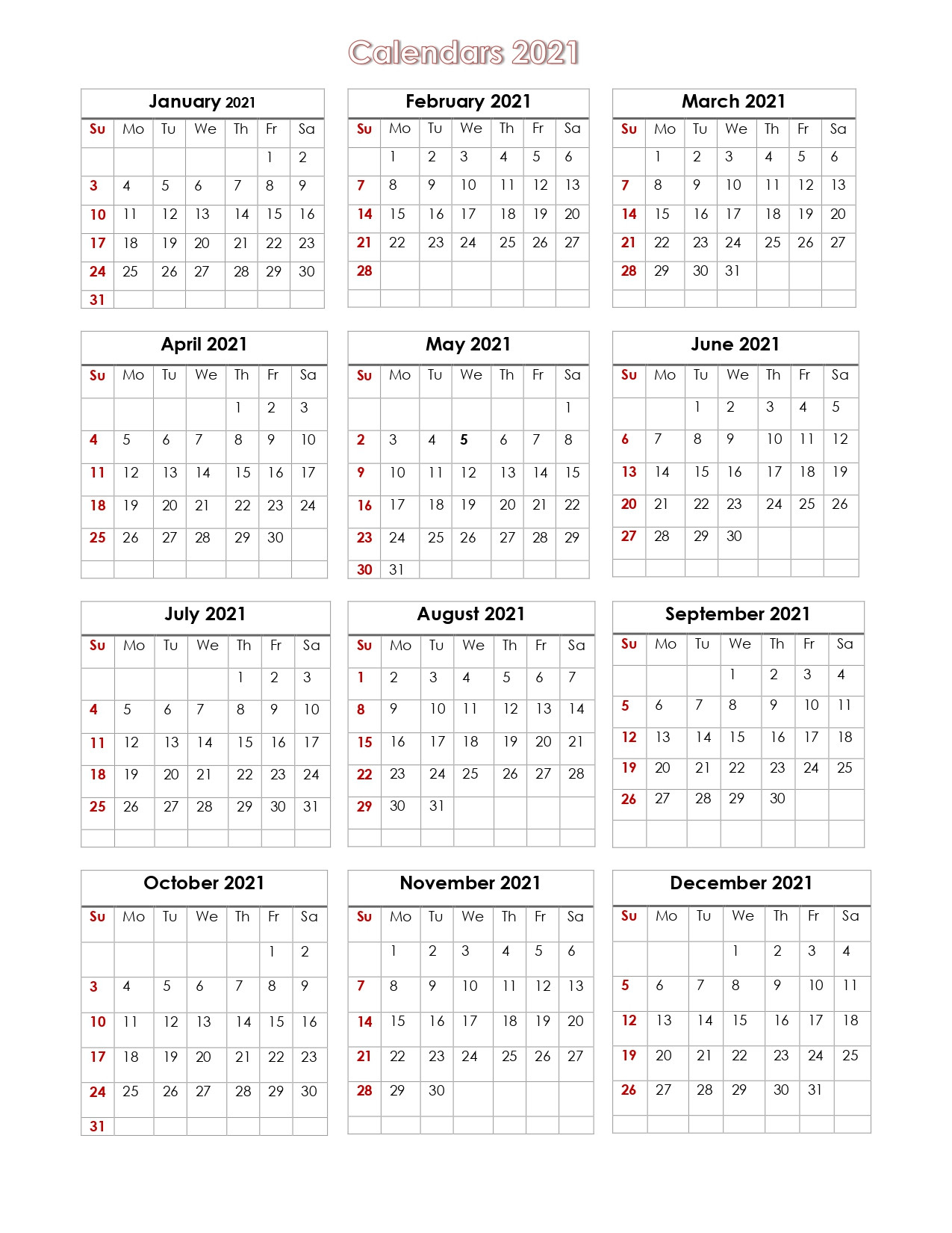 56+ Design Printable Calendar 2021 One Page, Yearly  2021 Yearly Calendar Printable Free
