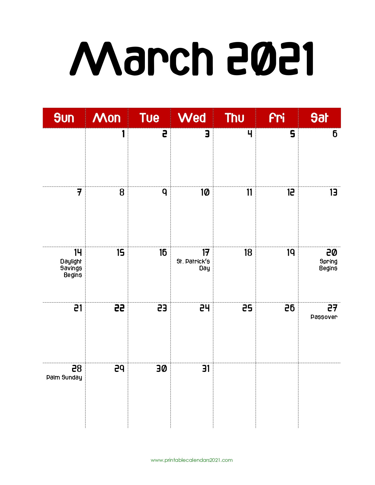 68+ Free March 2021 Calendar Printable With Holidays  Printable March 2021 Calendar Pdf