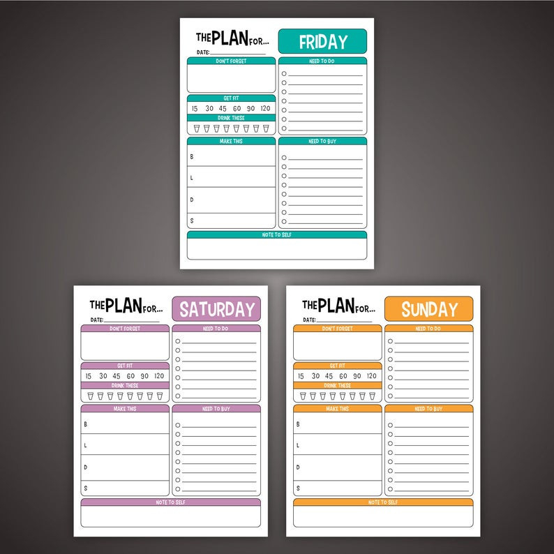 7-Day Daily Planner Set Editable 8.5 X 11 Pdf To-Do Health  7 Day Planner