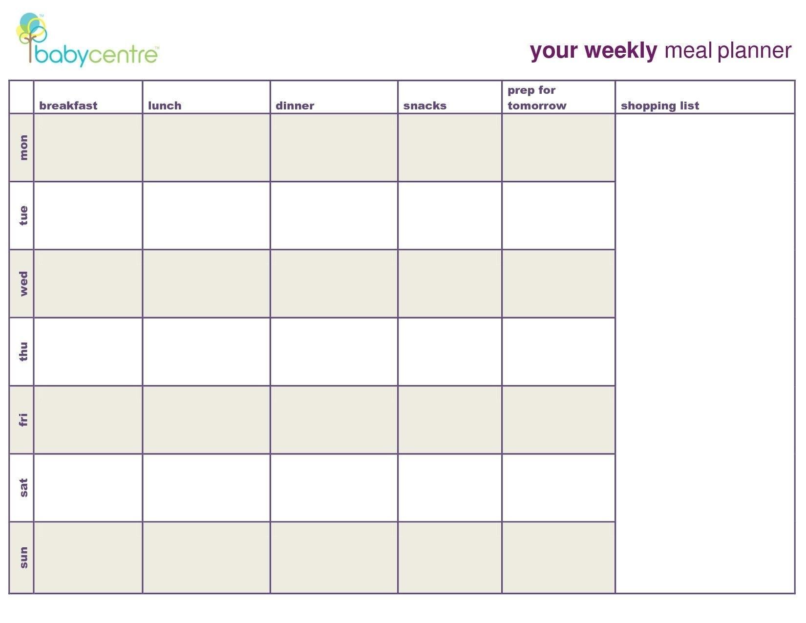 7 Day Meal Planner Template - Calendar Inspiration Design  7 Day Planner
