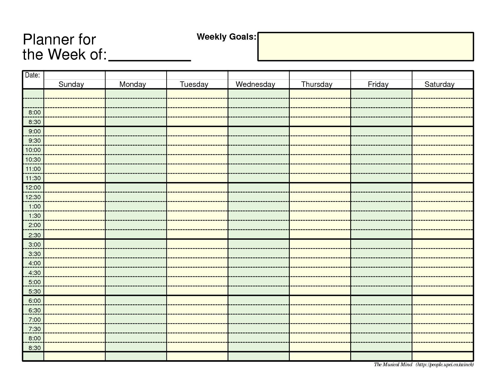 7 Day Monthly Calendar In 2020 | Day Planner Template  7 Day Planner Template