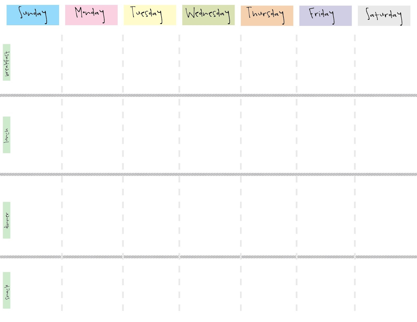 7 Day Weekly Planner Template Printable | Calendar  Blank Weekly Schedule Template 7 Days