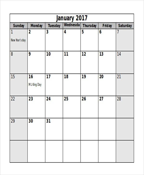 7+ Editorial Calendar Templates - Free Sample, Example  Monthly Calendar Template