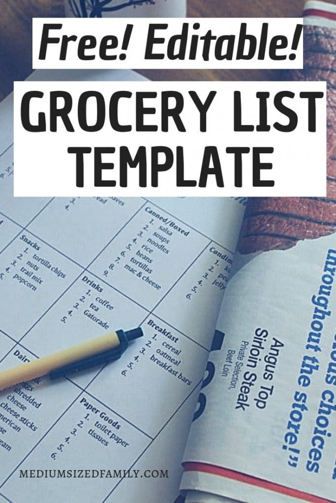 A Free Editable Grocery List Template That Will Cut Plan  Shopping List