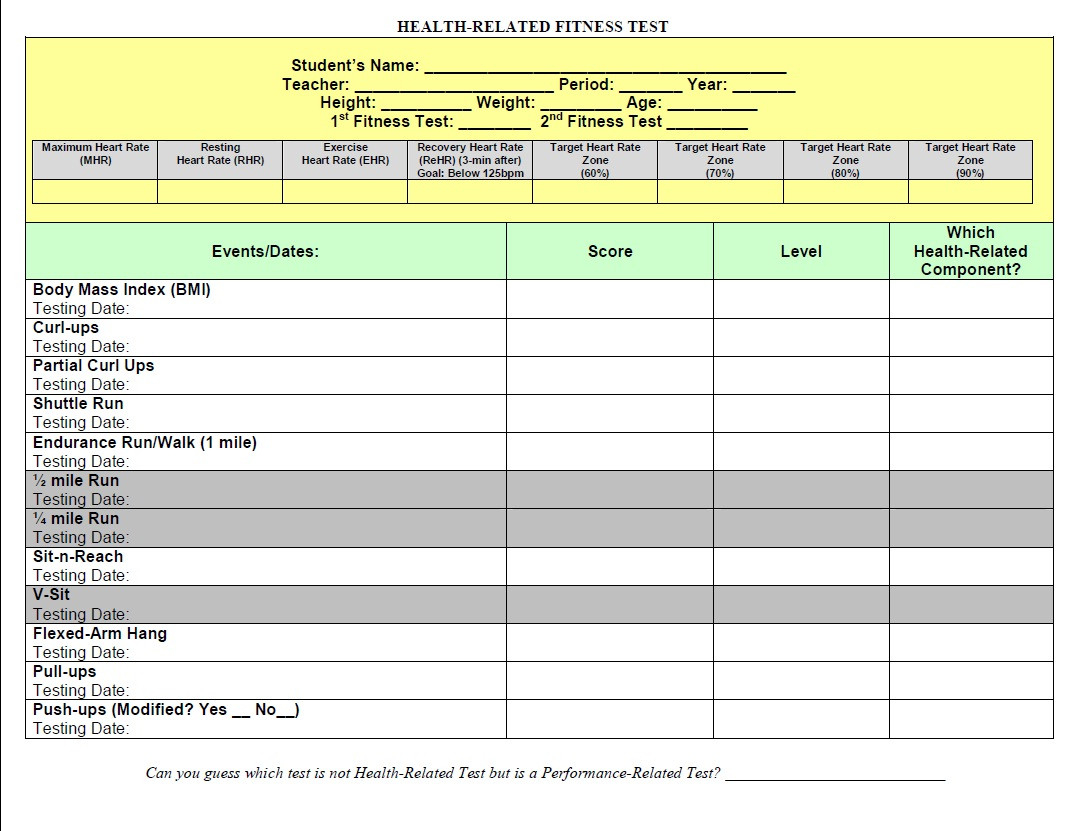 Access To Healthy Active Living 2013: Fitness Record Sheets  Fitness Challenge Worksheet Pdf