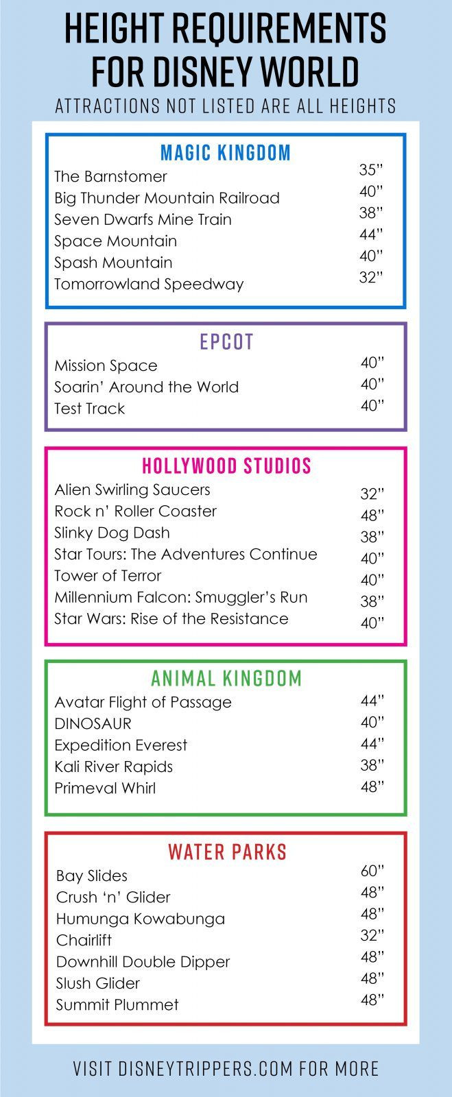 All The Height Requirements For Disney World  Printable Attraction List Disney World