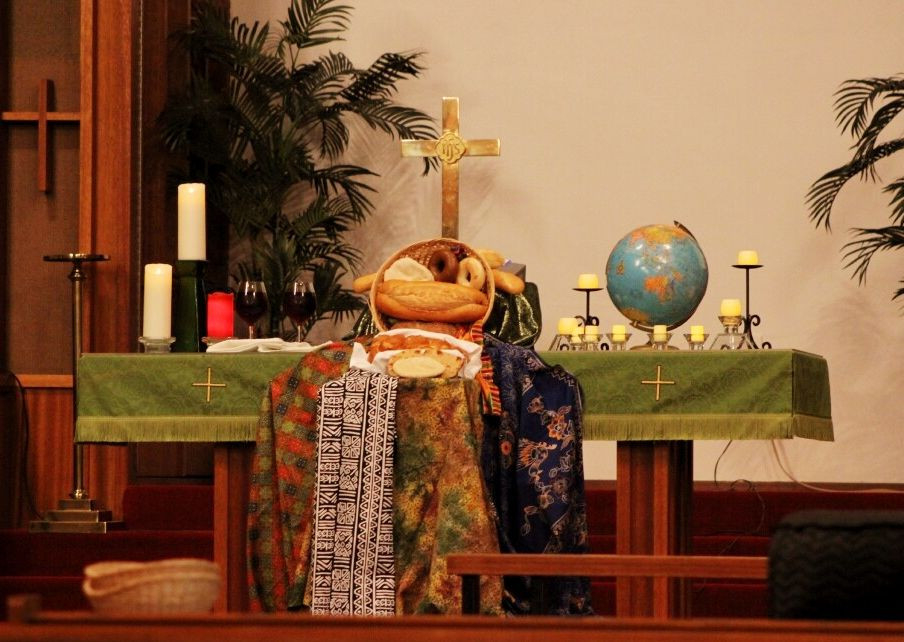Altar For World Communion Sunday, Oct. 5, 2014, At  What Is The United Methodist Liturgical Church