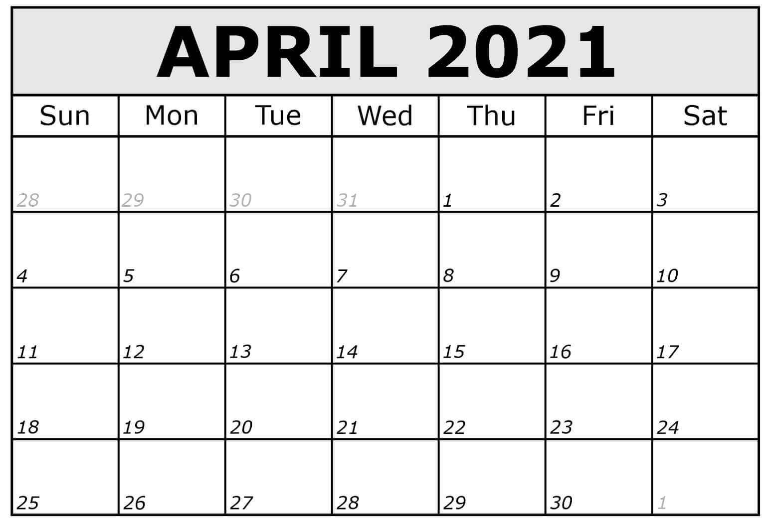 April 2021 Calendar In Pdf Word Excel Printable Template  2021-21 Calendar Template Excel