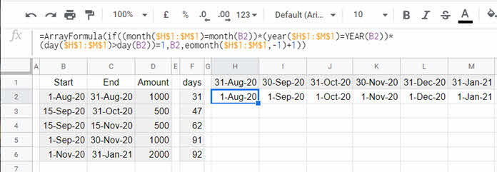 Array Formula To Allocate Amounts Into Monthly Columns In  If Month Column