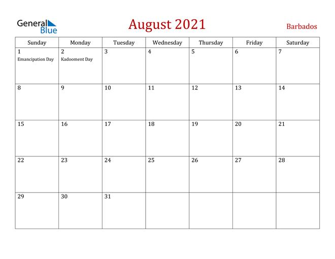 August 2021 Calendar - Barbados  August 2021 To December 2021 Calender
