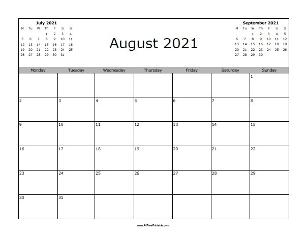 August 2021 Calendar - Free Printable - Allfreeprintable  August 2021 To December 2021 Calender