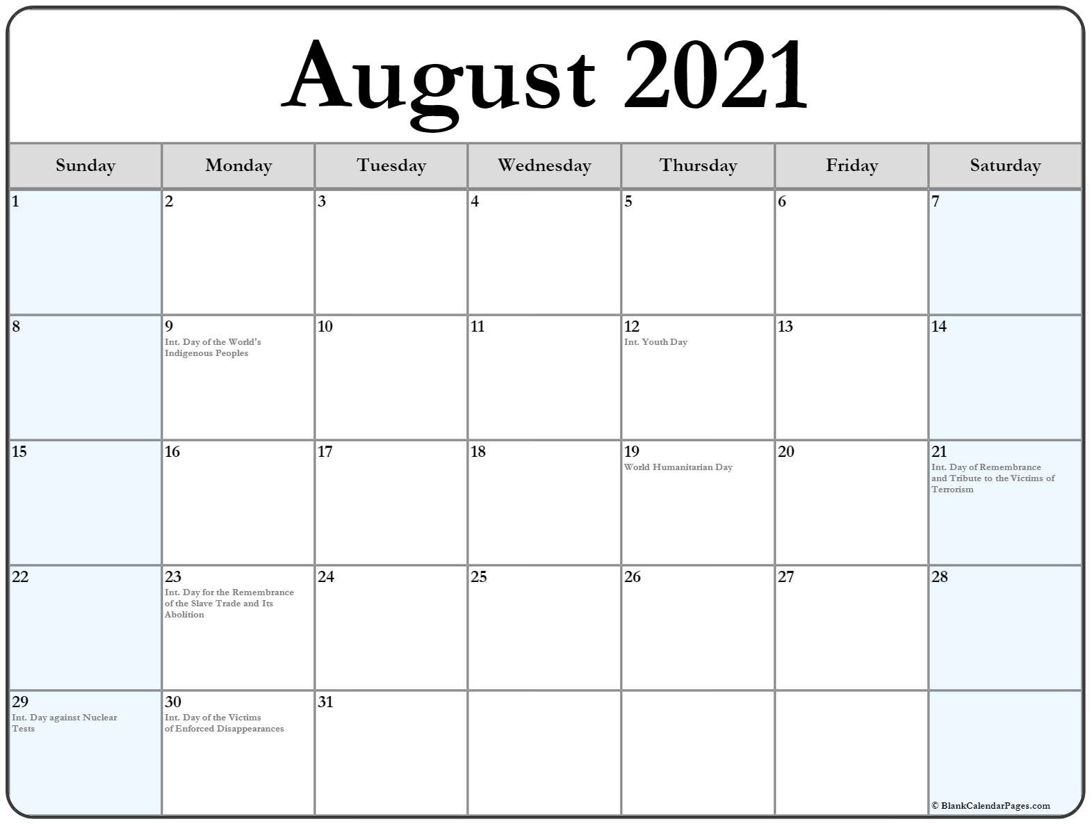 August 2021 Calendar With Holidays  August 2021 To December 2021 Calender
