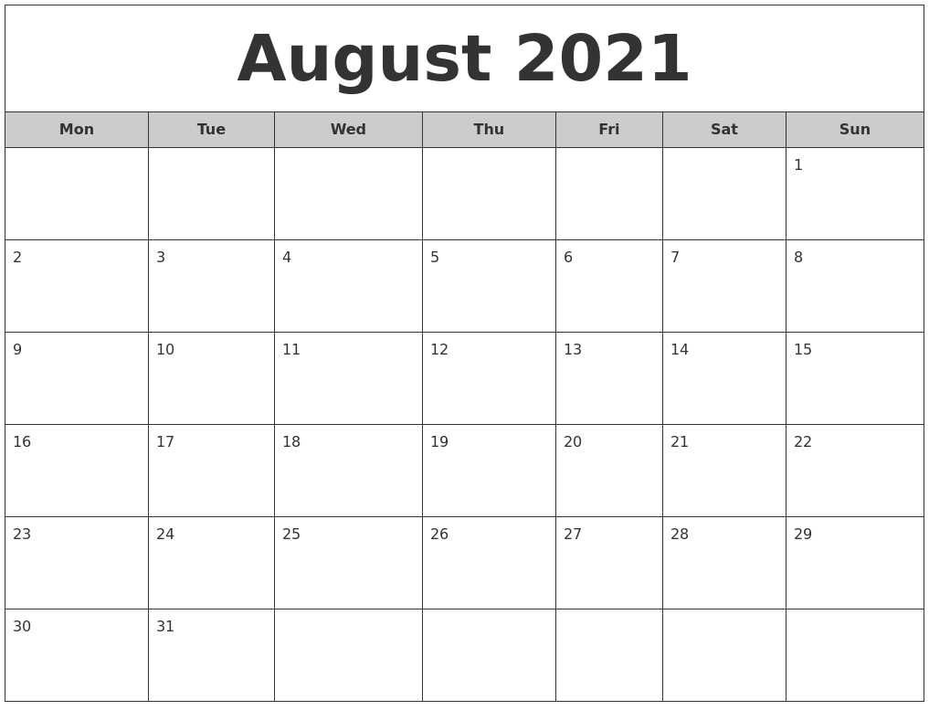 August 2021 Free Monthly Calendar  August 2021 To December 2021 Calender