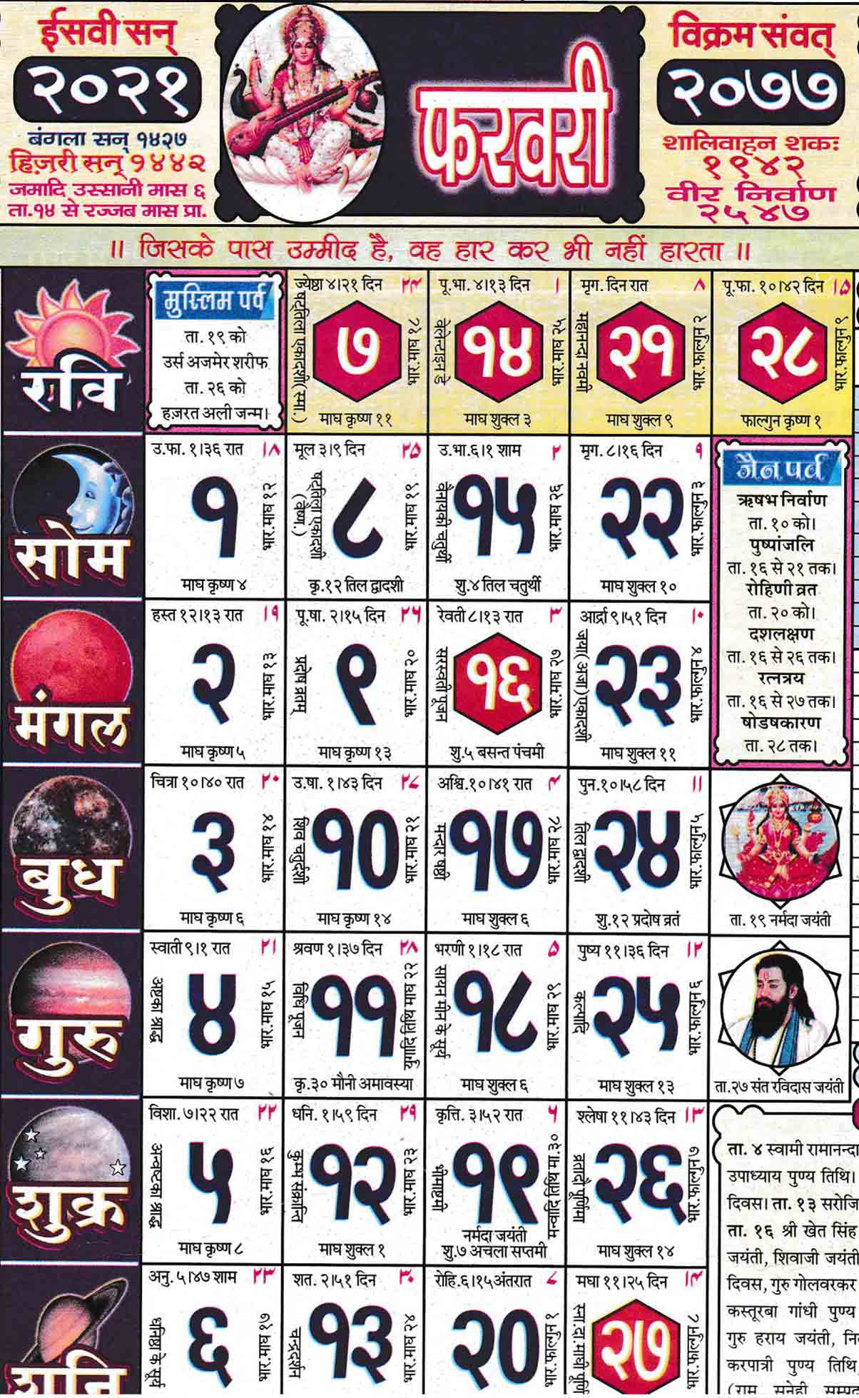 Babulal Chaturvedi Calendar2021 February | Seg  2021 Malayalam Calendar Pdf