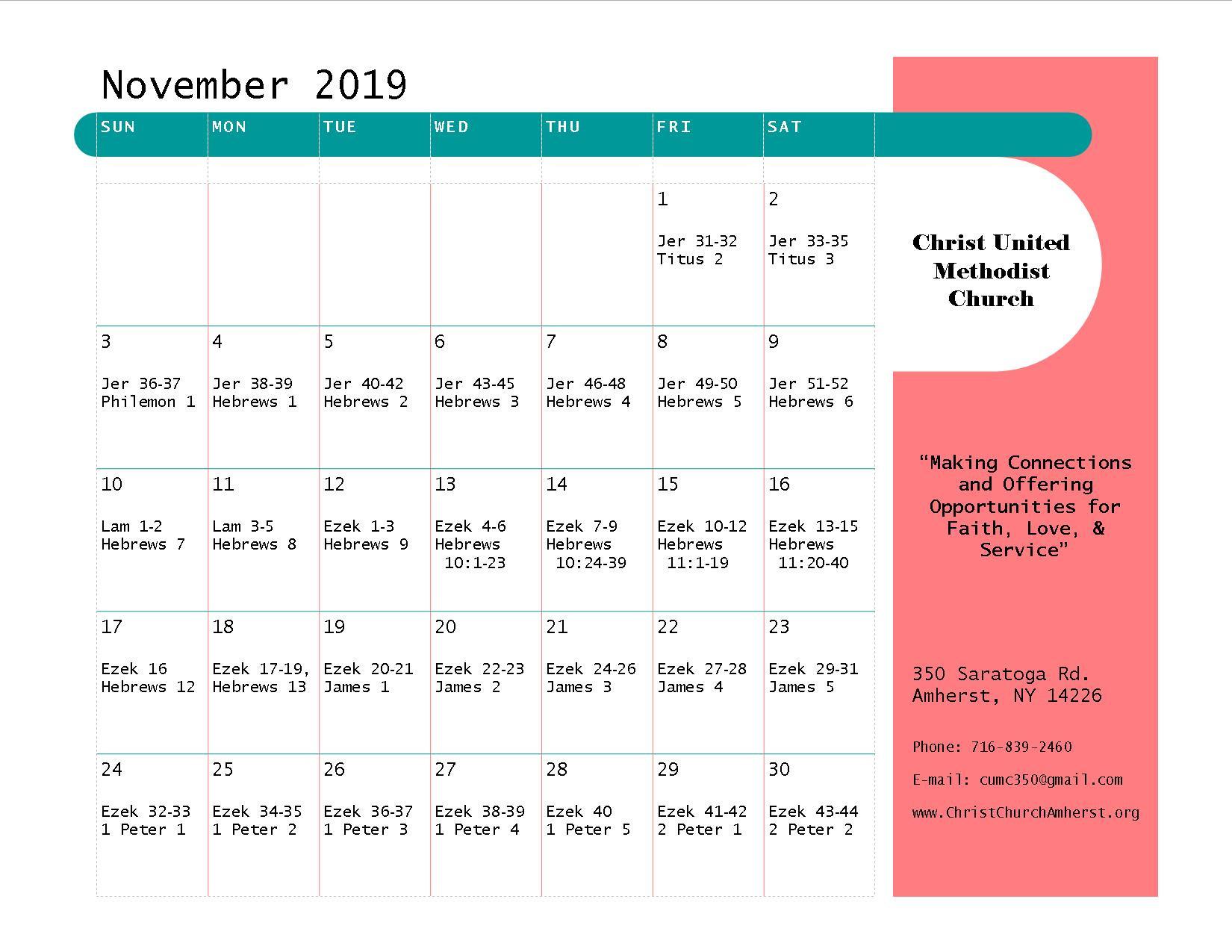 Bible-Reading Plan - Christ United Methodist Church  Methodis Lectionary Church Calendar Scripture Readings 2021