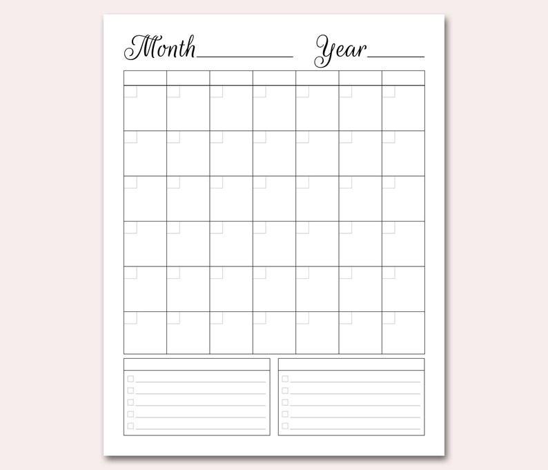 Blank Calendar Printable Blank Perpetual Calendar Diy   Etsy  Full Size Blank Printable Calendar