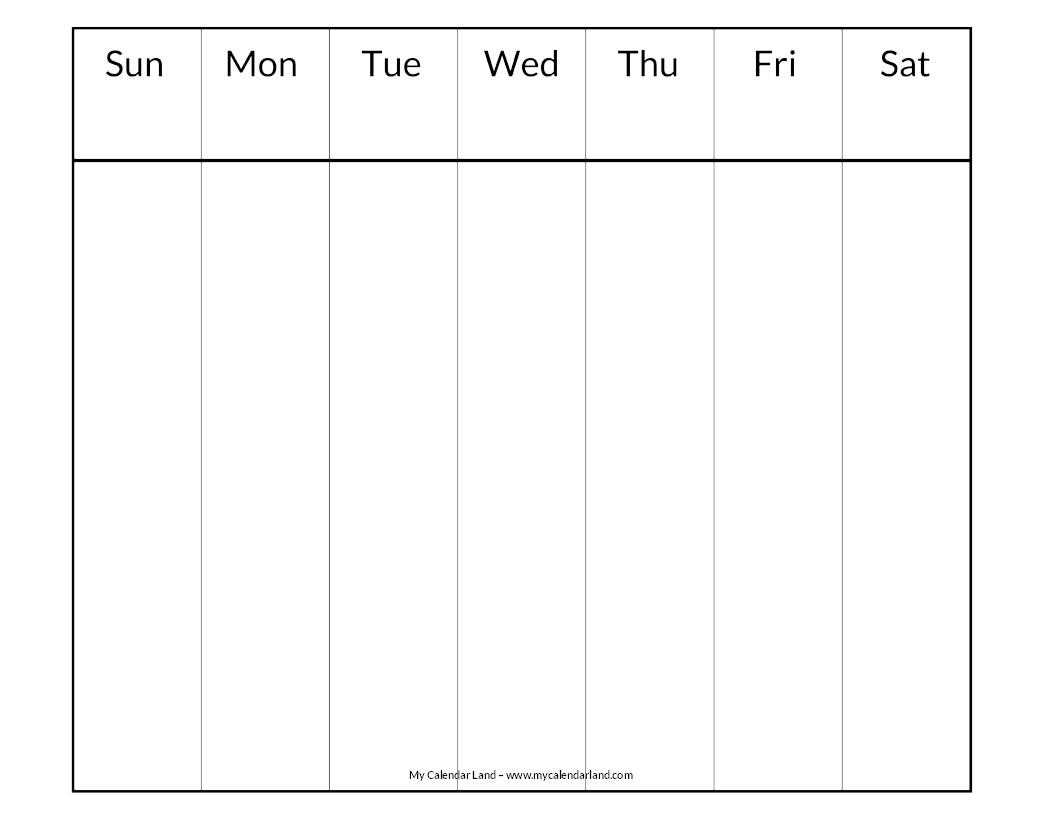 Blank Calendar Printable - My Calendar Land  Blank Weekly Schedule Template 7 Days