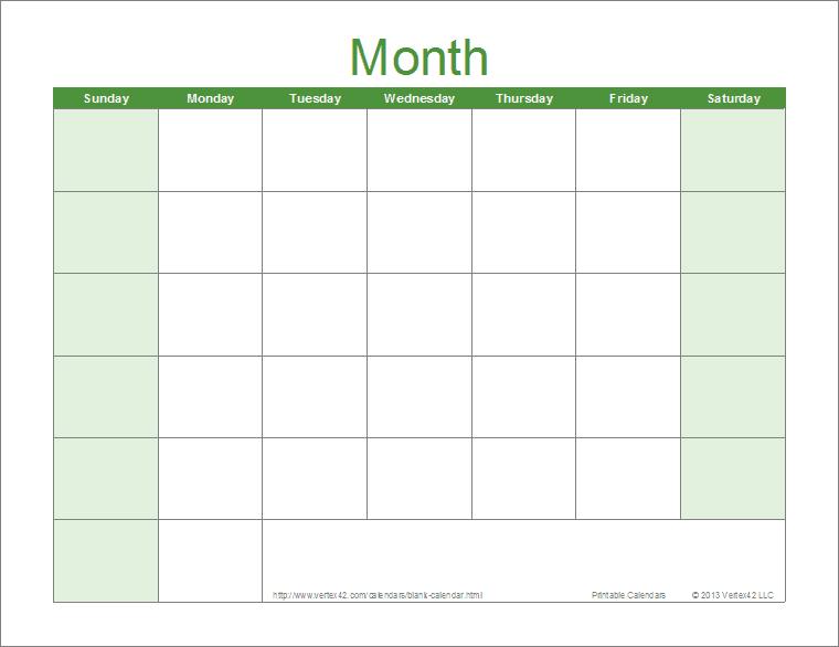 Blank Calendar Template - Free Printable Blank Calendars  Blank Calendar Printable With Lines