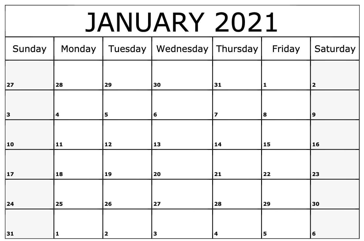 Blank January 2021 Calendar Pdf, Word, Excel Template  Word January 2021 Template