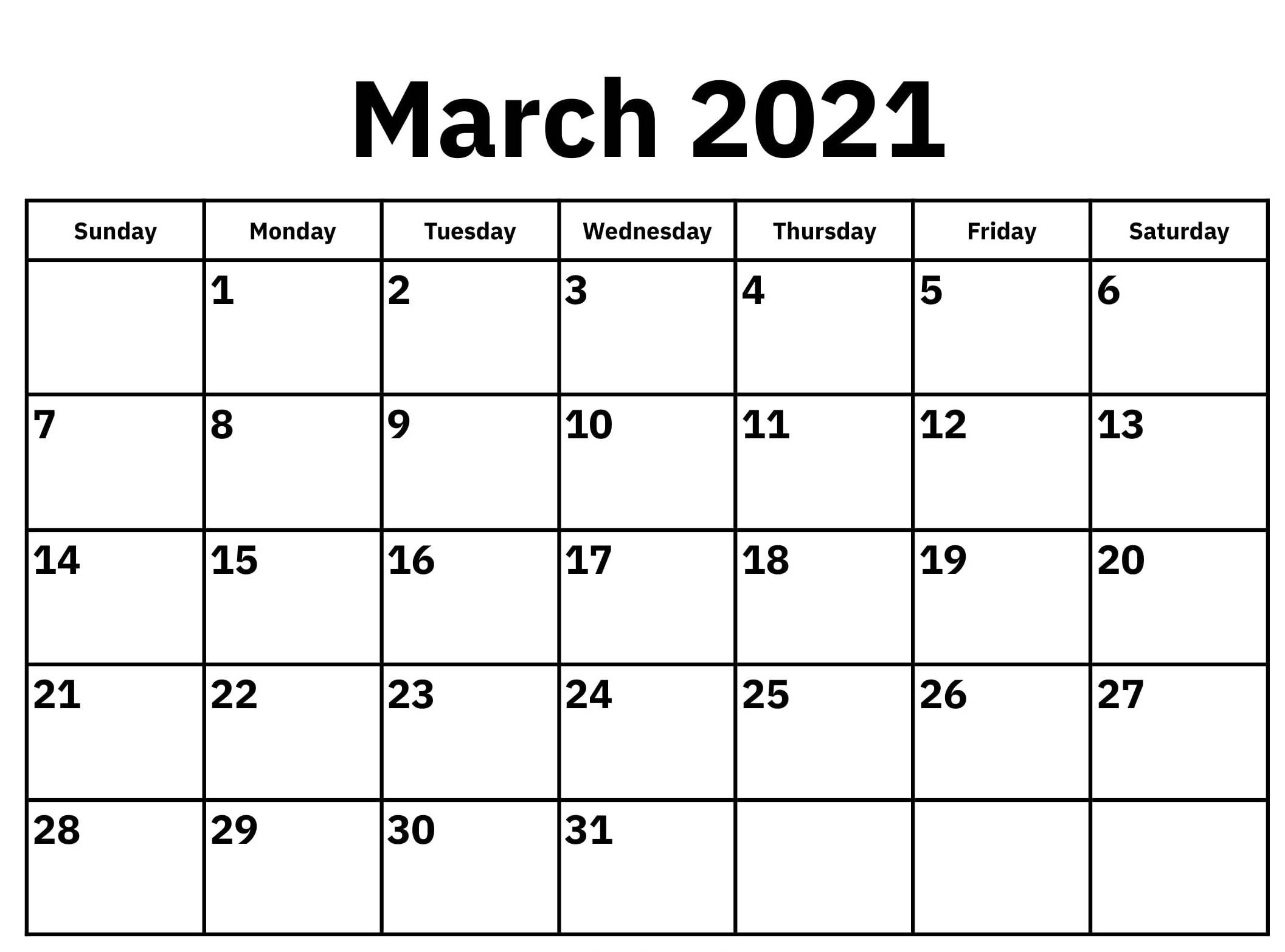 Blank March 2021 Calendar Printable Paper Sheets - One  Printable March 2021 Calendar Pdf