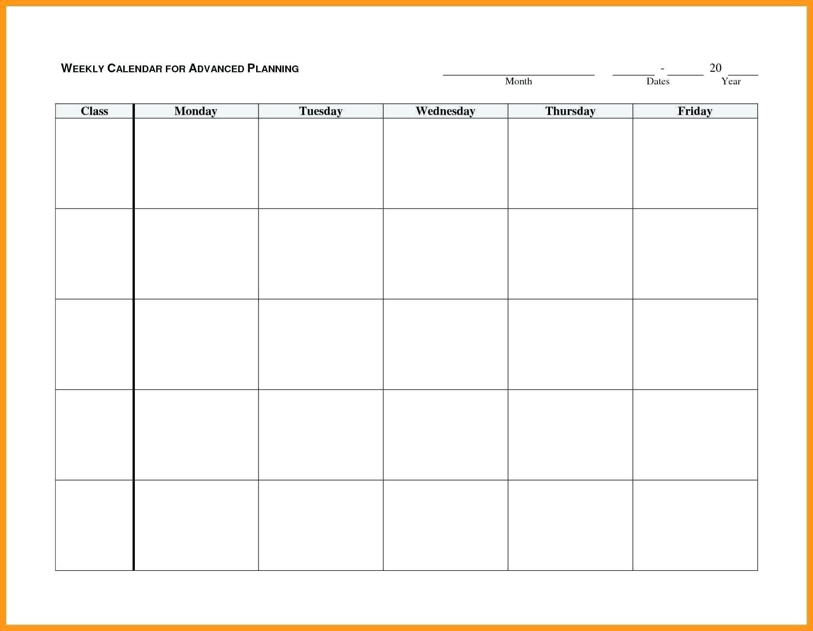 Blank Monday Through Friday Month Calendar Template :-Free  Editable Monday-Friday Shedule