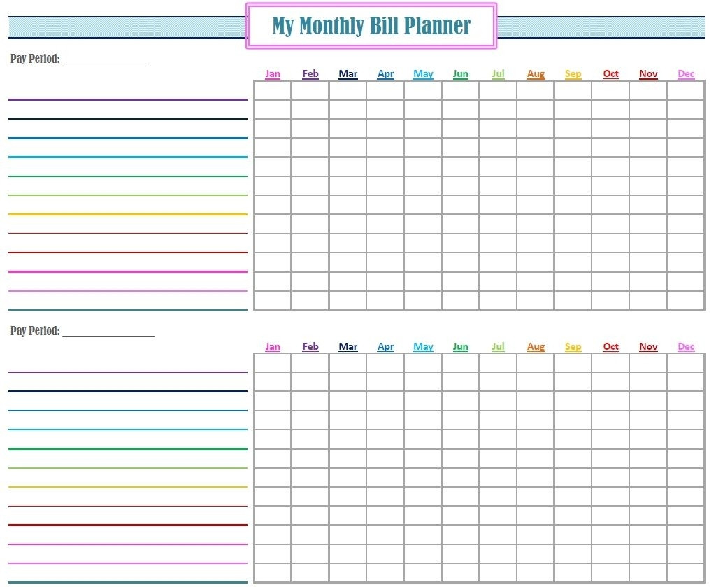 Blank Monthly Bill Payment Worksheet - Calendar  Bill Payment Worksheet