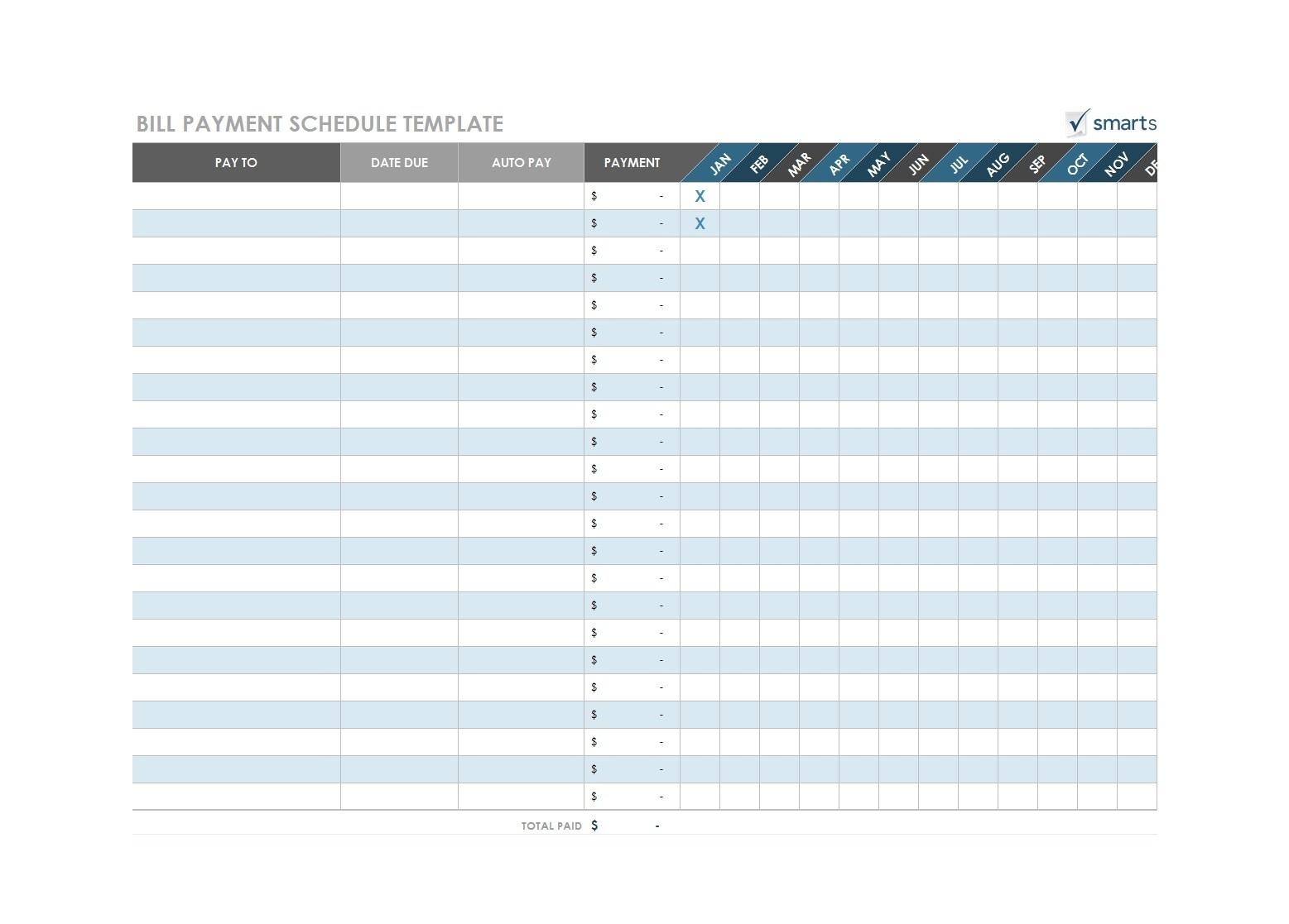 Blank Monthly Bill Payment Worksheet - Calendar  Free Bill Pay Worksheet