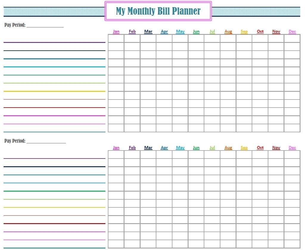 Blank Monthly Bill Payment Worksheet - Calendar  Printable Blank Monthly Bill Spreadsheet