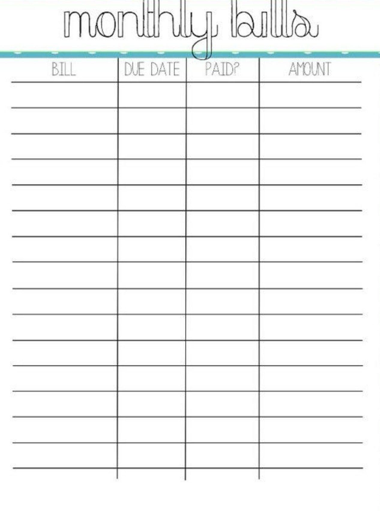 Blank Monthly Bill Payment Worksheet | Calendar Template  Monthly Bill Payment Sheet