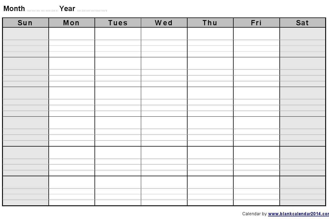 Blank Monthly Calendar Printable With Lines - Calendar  Blank Calendar Printable With Lines