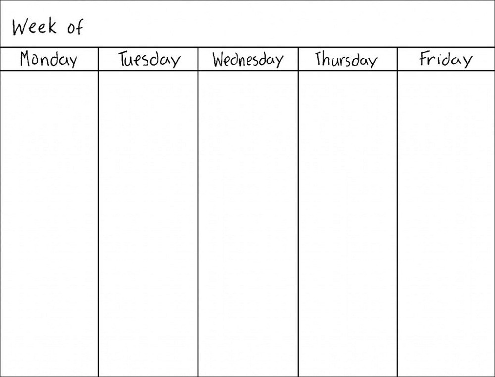 Blank Weekly Calendars Printable | Activity Shelter  Weekly Planner Printable Monday Through Friday