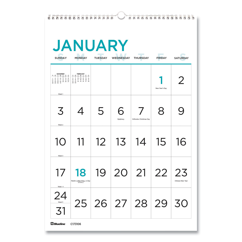 Buy 12-Month Large Print Wall Calendar, 12 X 17, White  Free Printable 12 Month Calendar 2021
