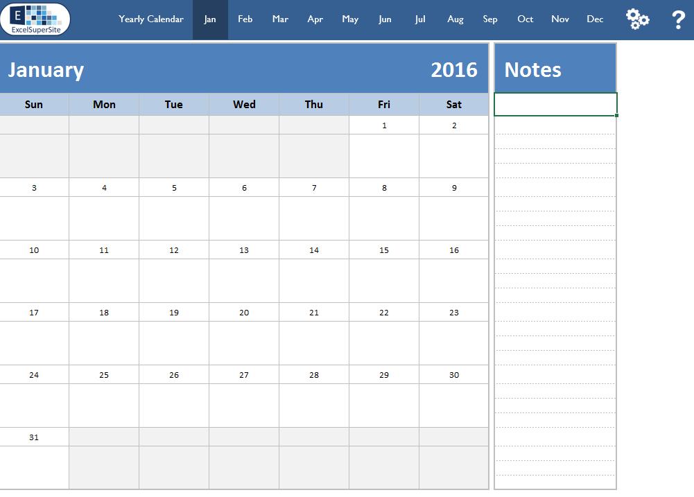Calendar-12 Month Plus Individual Months | Excelsupersite  12-Month Calendar Template