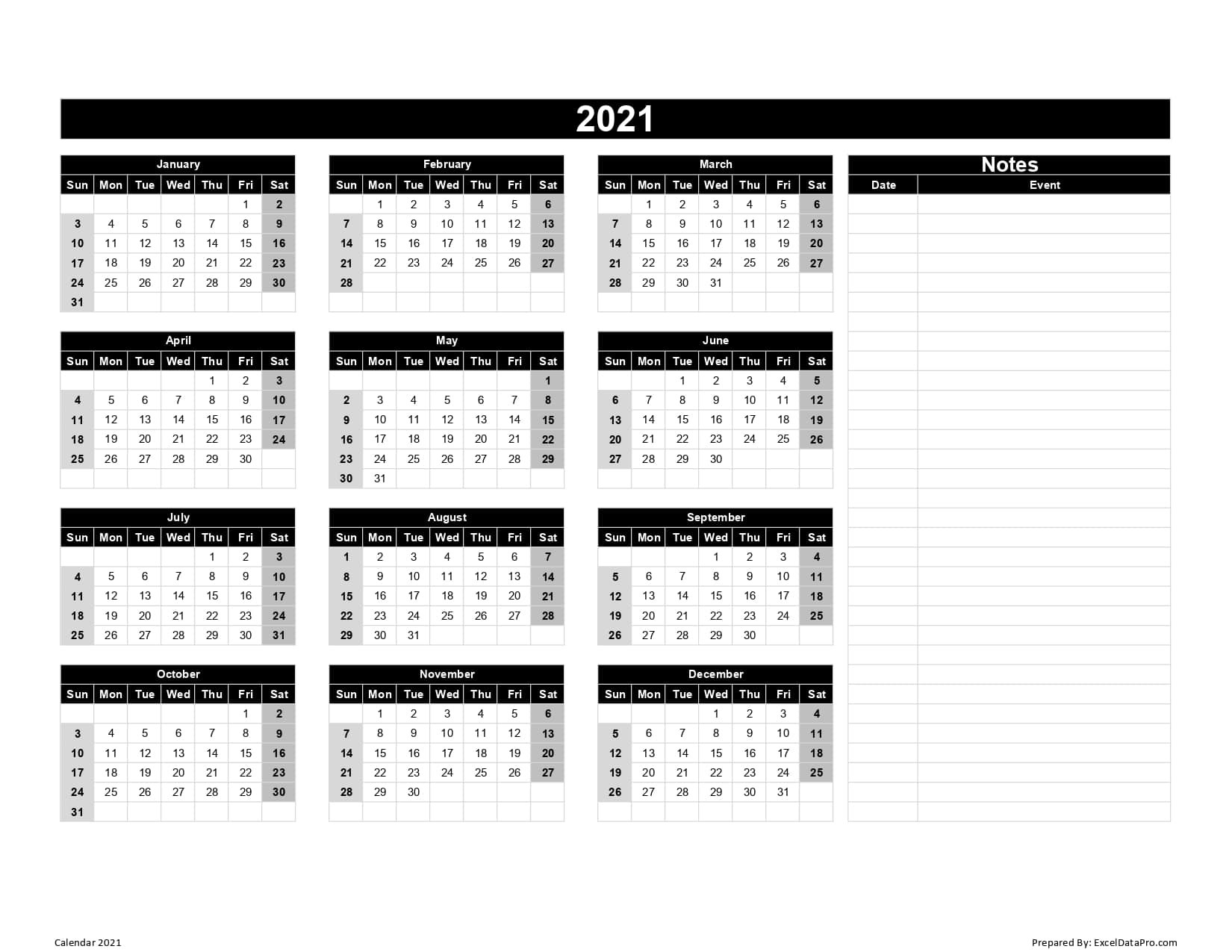 Calendar 2021 Excel Templates, Printable Pdfs & Images  Full Page Printable Monthly Calendar 2021