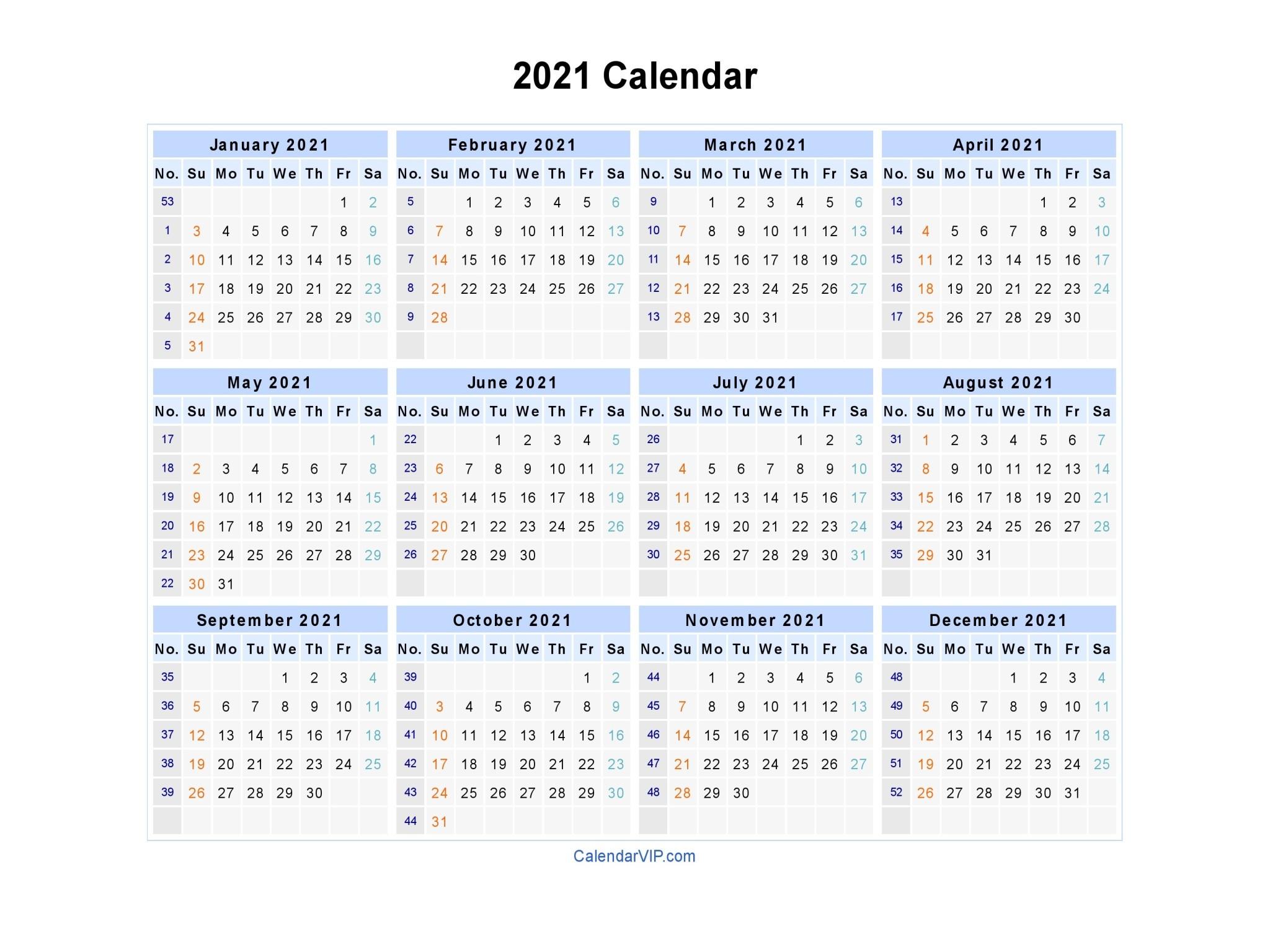 Calendar 2021 Fillable Weekly For Time Saving | Free  Fillable 2021 Calendar Template