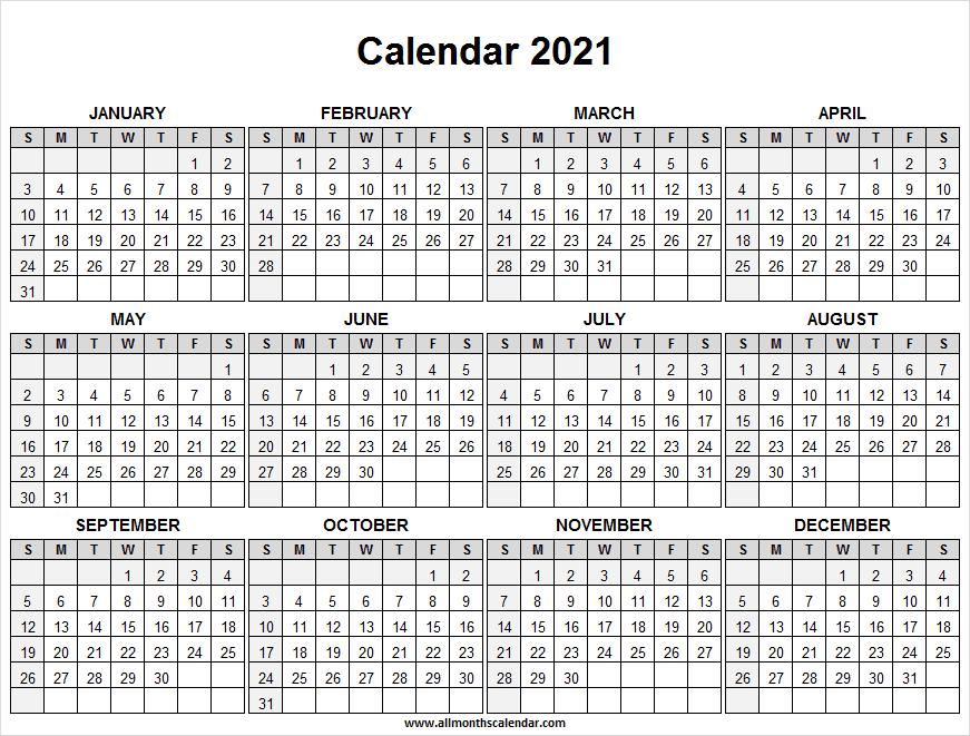 Calendar 2021 Full Year Free - Free Printable Calendar  2021 2021 Monthly Calendar Printable Free